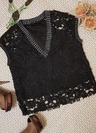 Блуза с крупным кружевом zara