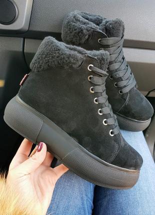 Распродажа натуральные замшевые ботинки на меху черные