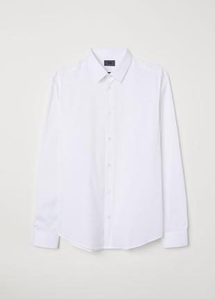 Белая рубашка стретч h&m premium quality , slim fit !