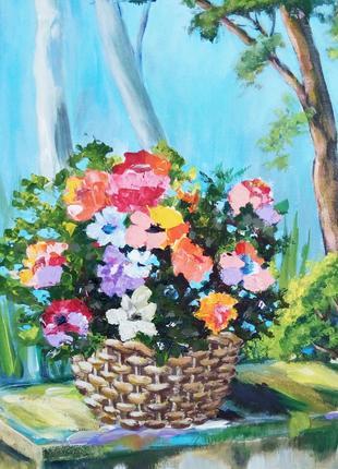 Картина пейзаж импрессионизм В летнем саду