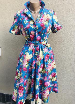 Романтическое платье,плотный хлопок,цветочный принт