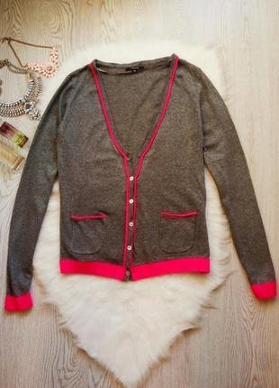 Серый кардиган с кашемиром розовой окантовкой карманами кофта ...