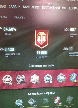 Продам крутой аккаунт wot 65% win