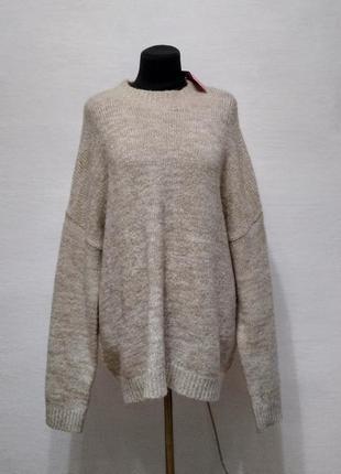 Стильный свитер oversize цвета беж большого размера