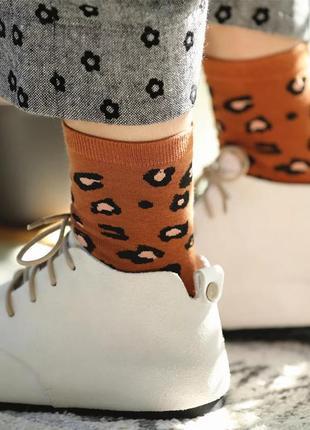 Стильные носочки с тигровым принтом/коричневый/белый/тренд/нов...