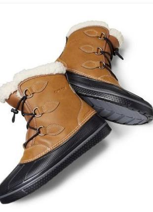 Кожаные зимние сапоги ботинки crocs