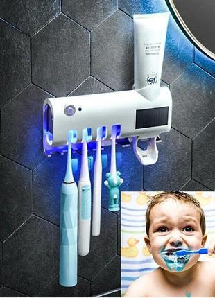 Держатель диспенсер для зубной пасты и щеток УФ-стерилизатор T...