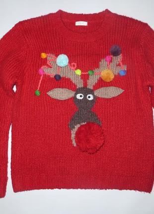 Новогодний свитер с оленем 9лет