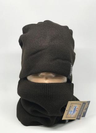 Комплект шарф снуд и шапка apex симон коричневый