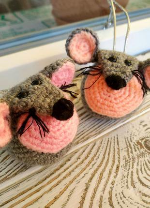 Мышка амигуруми, символ Нового года, новогодние украшения.