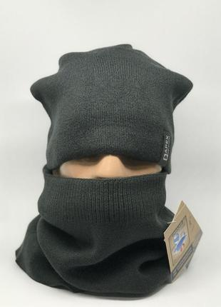 Комплект шарф снуд и шапка apex симон темно серый
