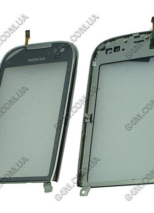Тачскрин для Nokia C7-00 с серебристой рамкой