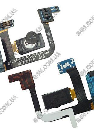 Шлейф Samsung S5660 Galaxy Gio с коннектором наушника и динами...