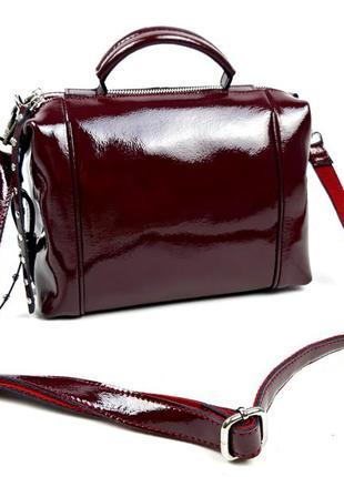 Женская сумка из мокрой кожи бордовая