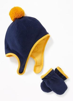 Варежки шапка детская 1 2 3 4 года 5 лет флисовые комплект old...