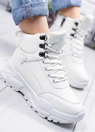 Зимние женские ботинки, белые спортивные ботинки зима 36р