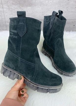 Зимние замшевые ботинки на прозрачной подошве,зимние ботинки и...