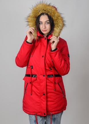 Зимняя тёплая женская куртка-парка на овчине со съемной опушко...