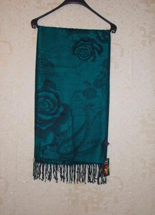 Новый палантин длинный шарф шаль butef зеленого цвета узор - розы