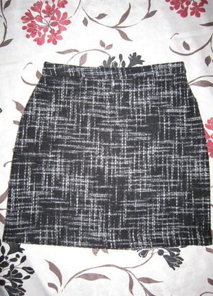 Мини юбка черно-белая