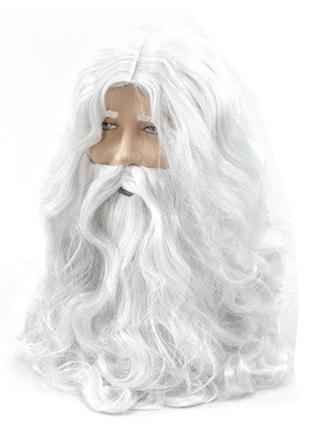 Белый парик Иисуса или Деда Мороза с бородой и усами, волнисты...