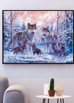 Набор для вышивки крестиком Волки в лесу 50х40 см, 14 ct. Набо...