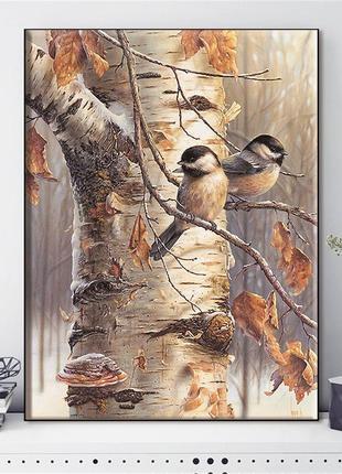Набор для вышивки крестиком Зимние птицы 50х40 см, 14 ct. Набо...