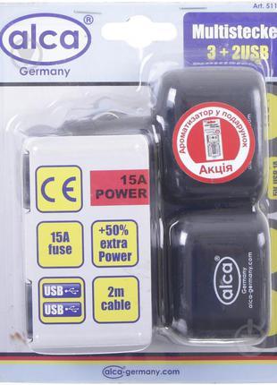Разветвитель от гнезда прикуривателя Alca 3+2 USB + ароматизатор