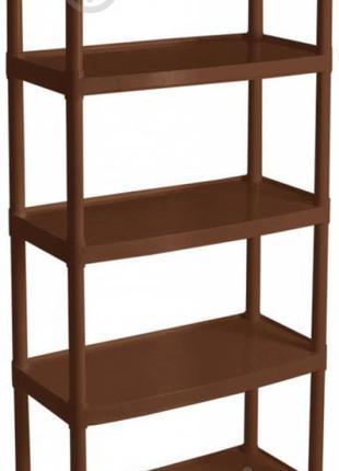 Стеллаж пластиковый Алеана 5 полок 1800x820x370 мм коричневый
