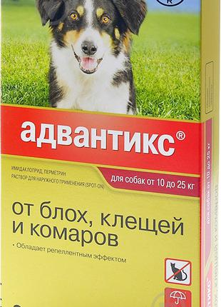 Капли Bayer Advantix для собак от блох и клещей на холку 10-25...