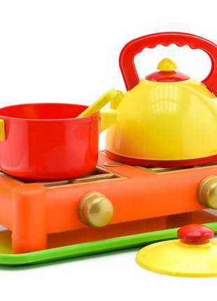 Детская игровая газовая плита с посудкой, 6 предметов