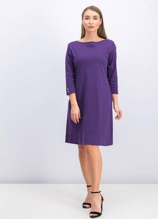 Фиолетовое платье 100% cotton вырез лодочка plus 1x на  54, 56 рр