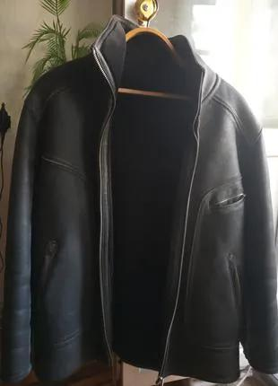 Дубленка-куртка зимняя кожанная.Р 50-52.