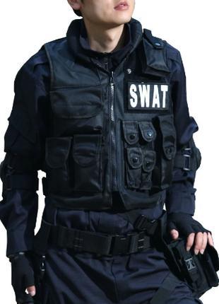 Жилет тактический, военный черный полицейский SWAT, жилет спец...