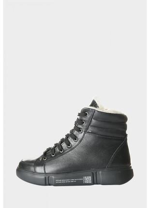Кожаные женские зимние спортивные черные ботинки на шнурках на...