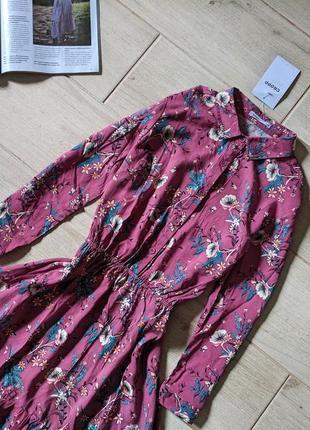 Яркое платье рубашка в цветочный принт