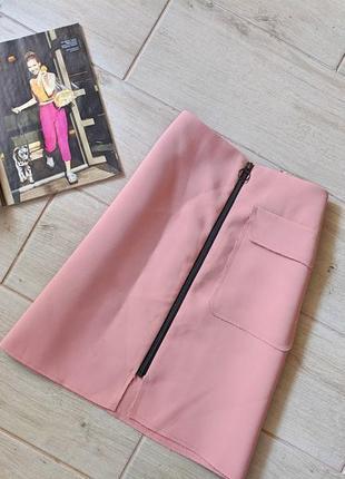 Красивая юбка трапецией с карманом на молнии m l