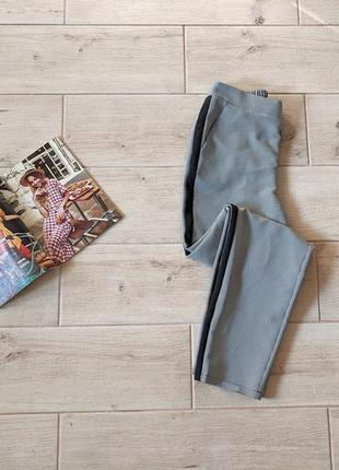 Стильные брюки штаны в мелкую клетку с лампасами с карманами s m