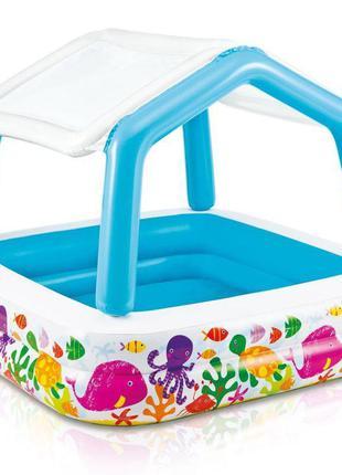 Детский игровой надувной бассейн квадратный Intex «Аквариум», ...