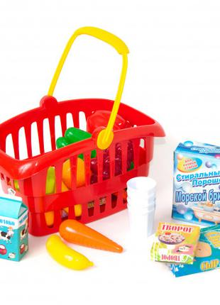 """Игровой набор """"Супермаркет"""" корзинка с продуктами 362B2, 3 цве..."""