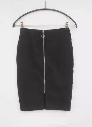 Базовая черная  стрейчевая юбка  карандаш миди на молнии  из в...