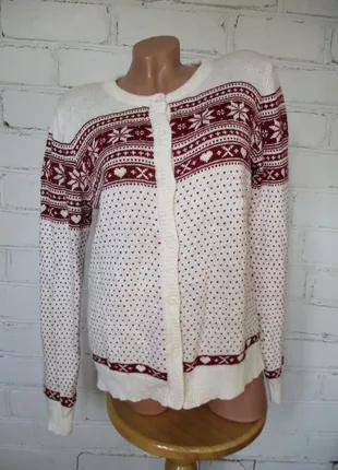 Кардиган/свитер/джемпер в рождественский орнамент/вискоза/хлоп...