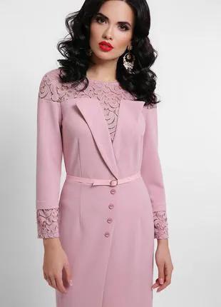 Нежное лиловое платье, нарядное и для офиса