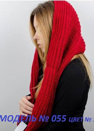 Зимний теплый вязаный женский снуд, хомут
