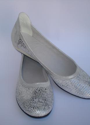 Женские Кожаные Балетки 40 размера цвет серебро / шкіряні балетки