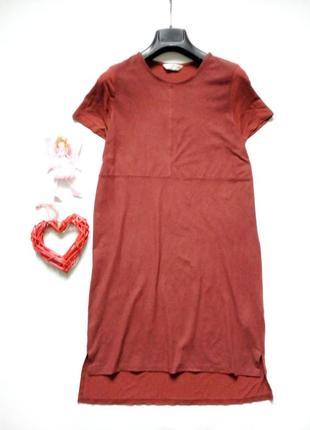 Трикотажное платье прямого кроя под замшу