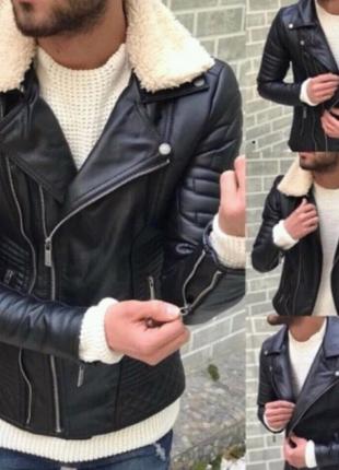 Мужская кожаная зимняя куртка до -10 всё размеры