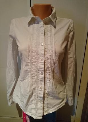 Белая приталеная рубашка tom tailor