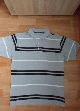 Поло серая мужская футболка в полоску