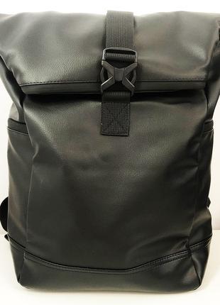 Рюкзак ролл-топ женский/мужской. Из эко-кожи. С секцией для но...